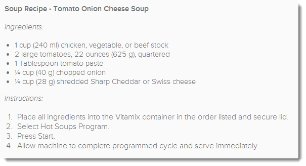 Tomato Onion and Cheese Soup - Vitamix Recipe